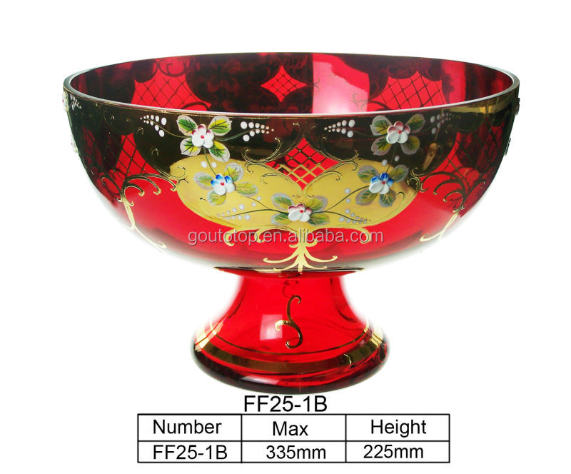 Decorative Pedestal Handmade Gold Painted Colored Glassware Fruit Bowl antique glass fruit bowls