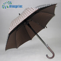 Umbrella factory high quality wood curved handle straight umbrella
