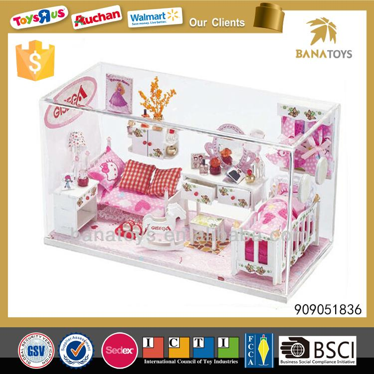 Princess toy wooden doll house with light