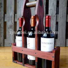 Custom vintage stained wooden 3 bottle tote wood wine carrier