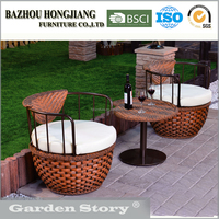 1722S Latest Designed outdoor Furniture With two Sofas and rattan wicker Coffee Table