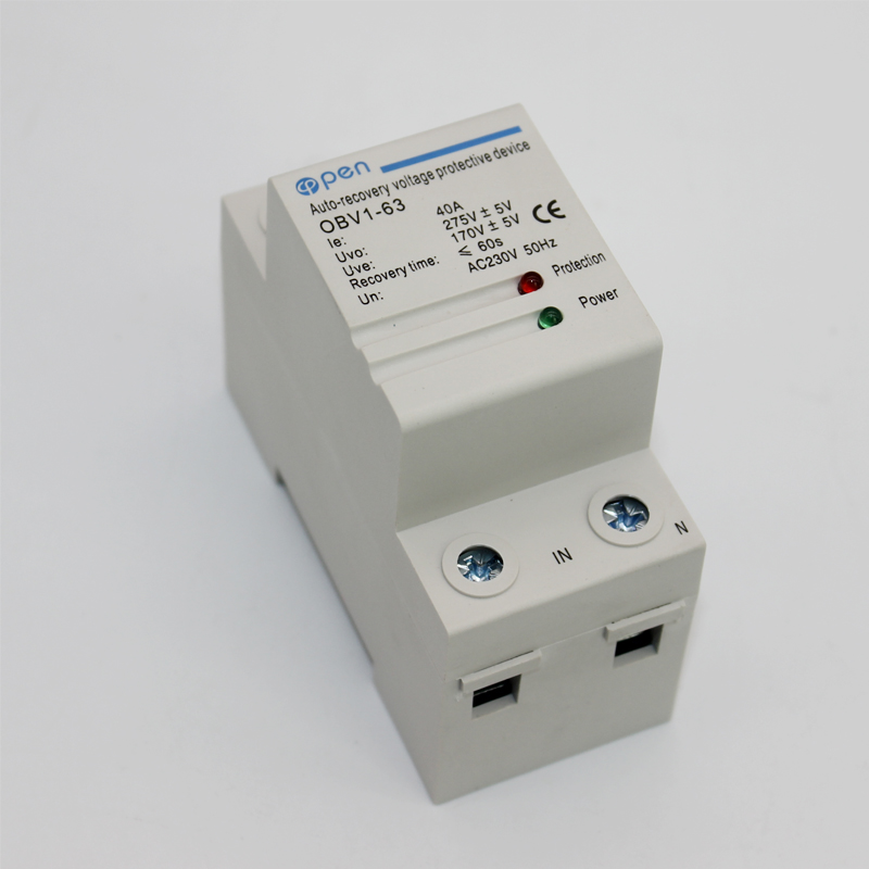 Din rail automatic recovery reconnect over voltage and under voltage protective device