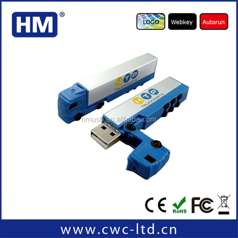 Alibaba china customized logo truck shaped plastic usb flash drive blank for free sample
