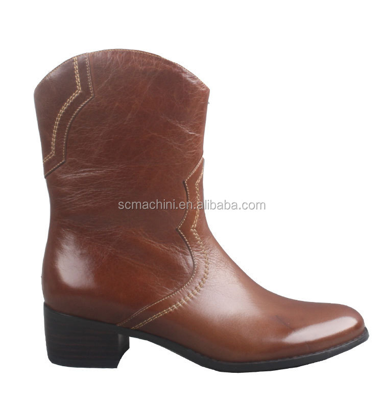 Designer genuine leather brown mexican western boots