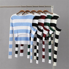 monroo New trendy crop tops women sexy stripes sweater