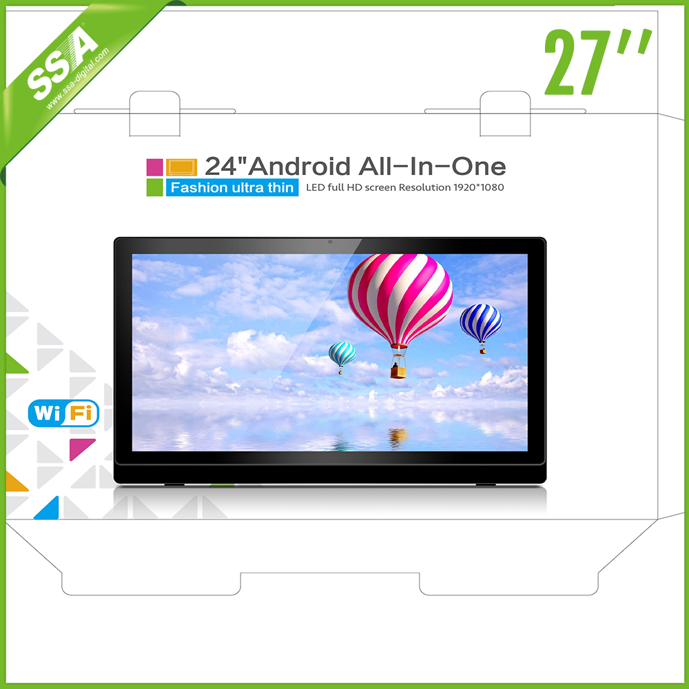 Popular android tv box lcd tv screen network digital signage 27 inch Capacitive Touch Android Bluetooth Monitor All in one pc