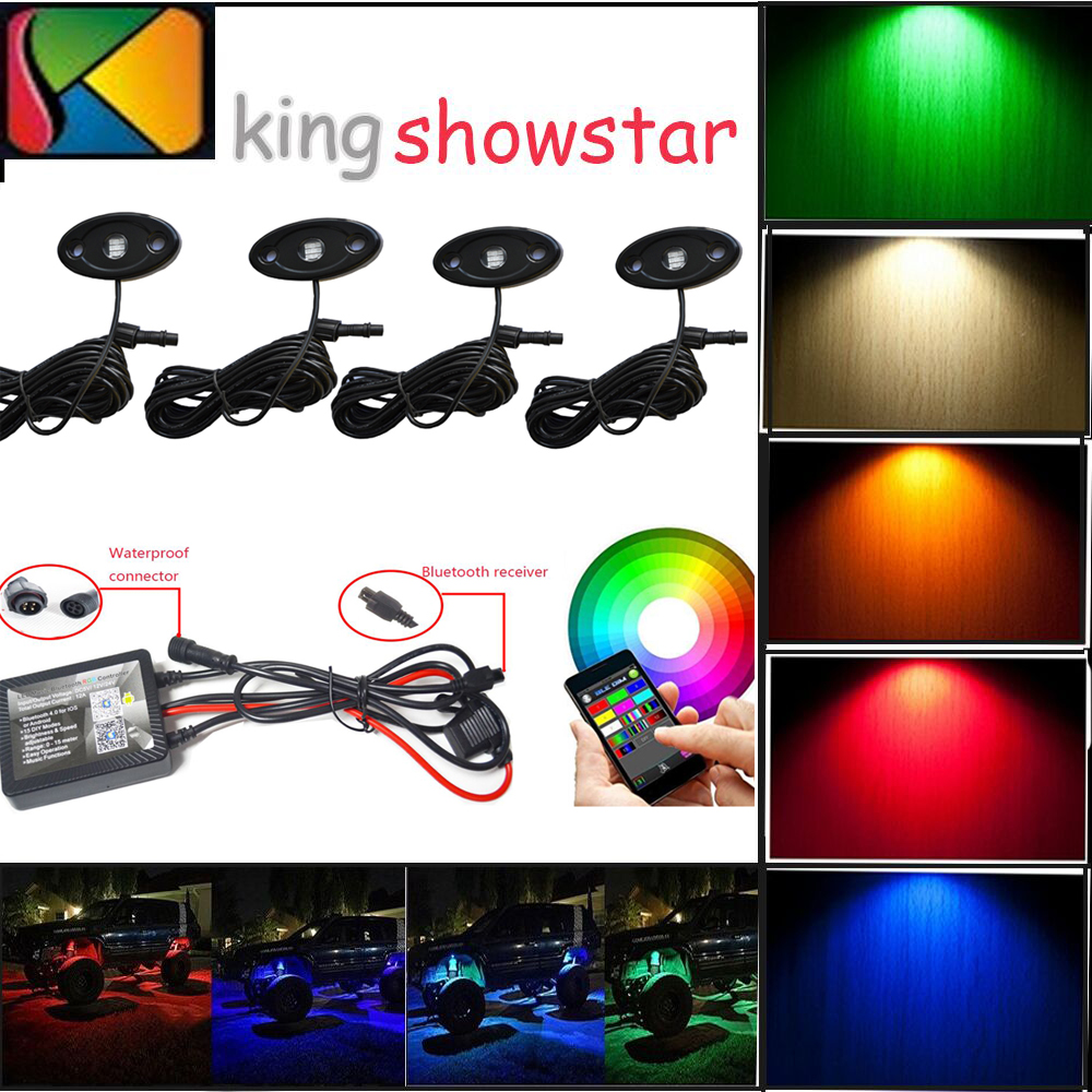4pods 9W RGB LED Rock Light For JEEP Offroad Truck Boat Under Body Trail Rig Light