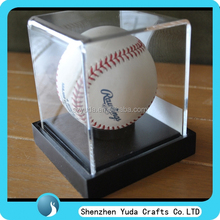 View clear cube baseball display box, singal acrylic display case stands