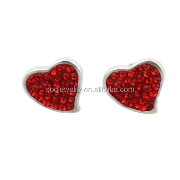 ES-010R Fashion Stainless Steel Heart Stud Earrings Designs with Full Crystal Jewelry