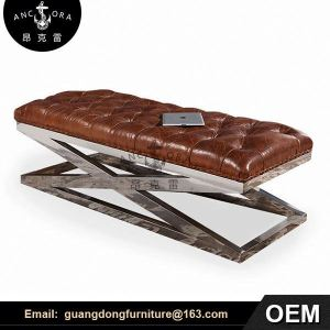 chestfield long genuine leather ottoman L833A