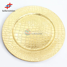 2017 Commission Sourcing agent New design 33cm golden color plastic wedding plate candy tray