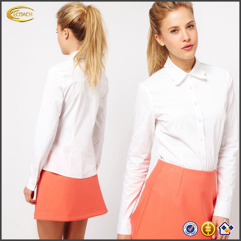 Ecoach wholesale OEM womens button down front Scallop Collar blank White Shirt long sleeve office lady shirt