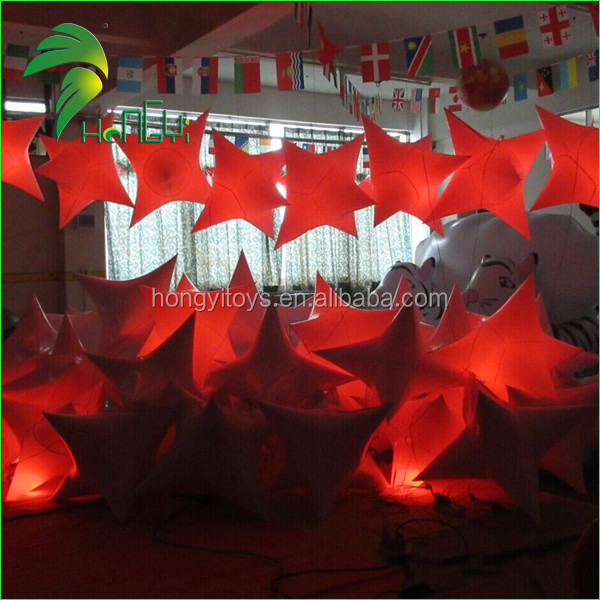 Cheap Hanging Inflatable LED Light Star Balloon For Party Decoration