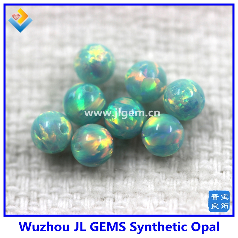 Hot Sale Green Synthetic Round Opal Beads/balls With Full Drilled Hole