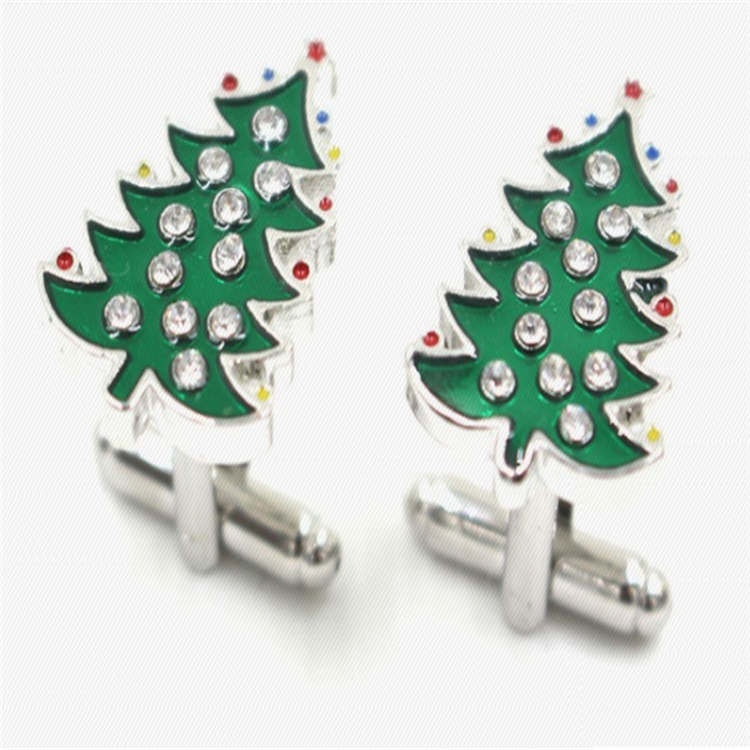 Newest Designed Metal Cufflinks Christmas Tree Cuff links