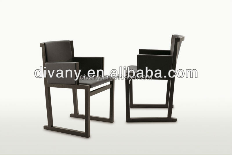 Modern wood and leather armchair (C42)