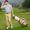 Latest leather golf travel bag with wheel for travel man free logo