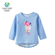 Wholesale sale cotton printed baby girl long sleeve t shirts