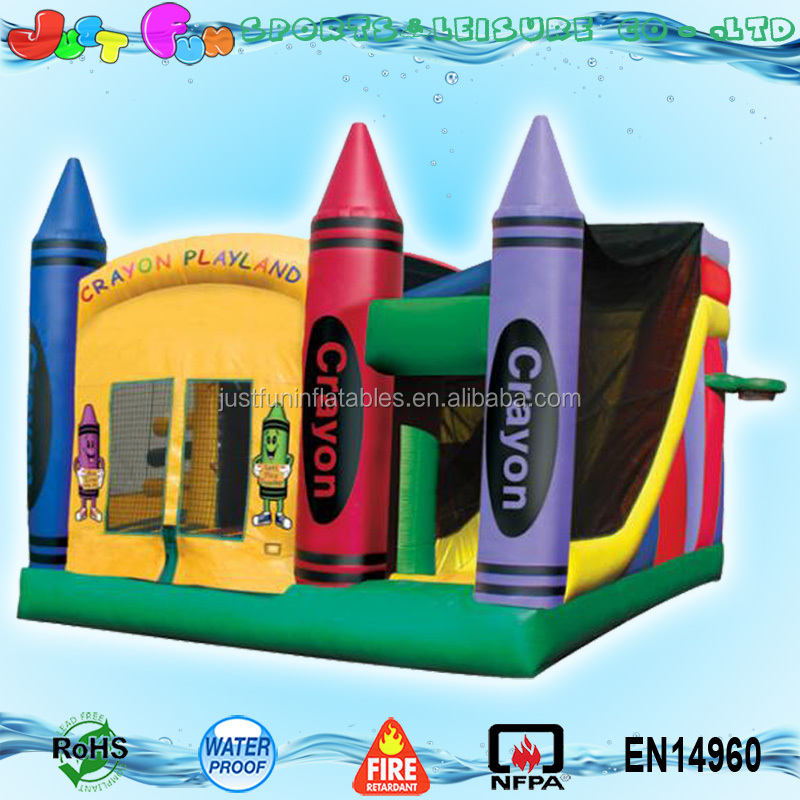 5 in 1 customized commercial coloful inflatable crayon themed jumping bouncer castle combo with prices for sale