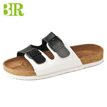 Wholesale men pu upper sandals with buckles wooden flat shoes cork sole slippers