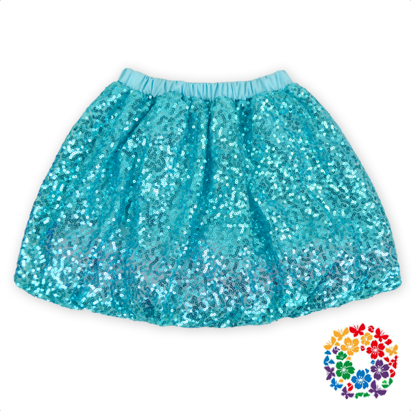 Turquoise Young Girls Wearing Short Skirts Sequined Young Girls Mini Skirts Wholesale Children Petti Skirt