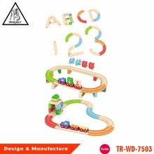 New design colorful building block wooden train track set chinese toy
