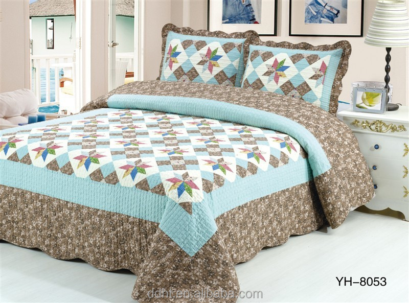 Blue Brown Floral Windmill Patchwork Bedding Sets / Patchwork Quilts