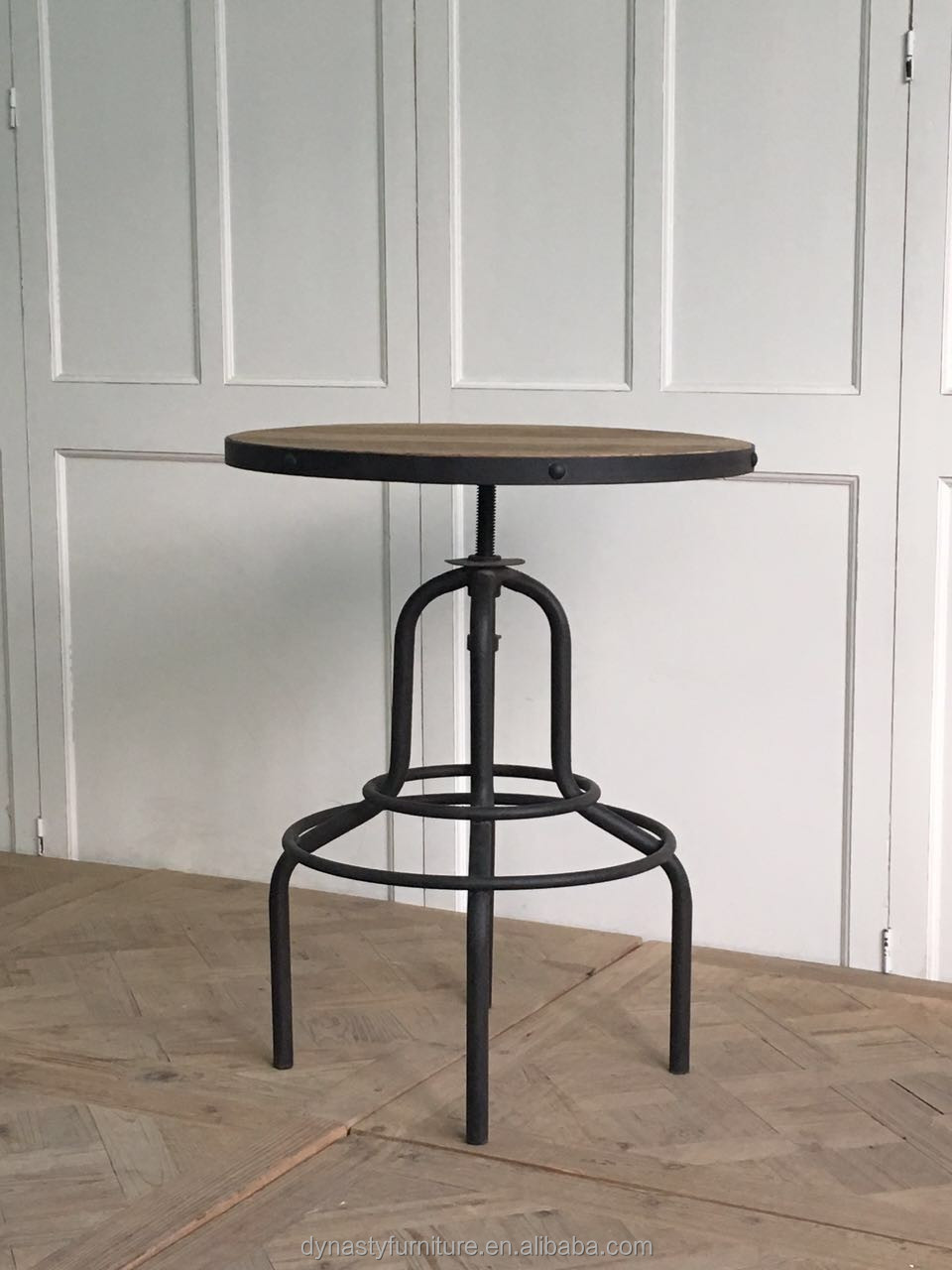industrial style furniture metal frame <strong>bar</strong> table wood top design