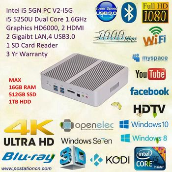 Intel NUC Desktop All in One with i5 5250u 1.6GHz Core HD6000 Graphics 4K HD Playback DC 12V Gigabit LAN HD HTPC