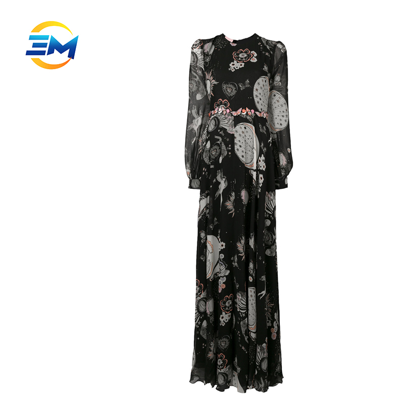 New fashion women printed ronud collar draped long sleeve maxi dress elegant tunic chiffon long dress