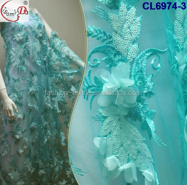 Famouse Movie -Star same design dress fabric Hot Sale Sexy aqua 3D evening Dress 3D embroidery wedding lace