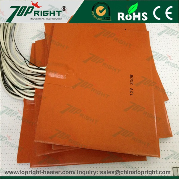 300x300mm, Used for 3D Printer Platform, Flexible Silicone Heat Mat with J type thermocouple