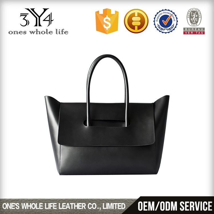 women large smooth leather tote bag