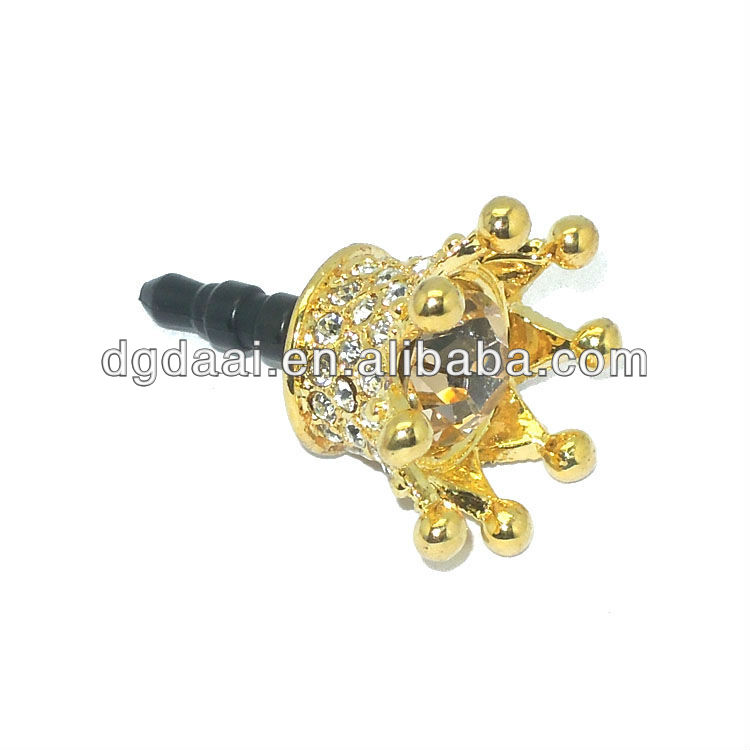 2013 new design phone dust plug rhinestone earphone jack