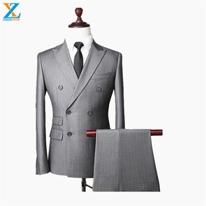 2019 latest design 3 pieces men with long blazer waistcoat and pants stripe suits made in china