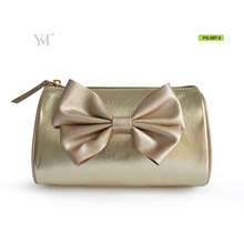 Golden leather favorable girl fashion design cosmetic bag factory wholesale bags
