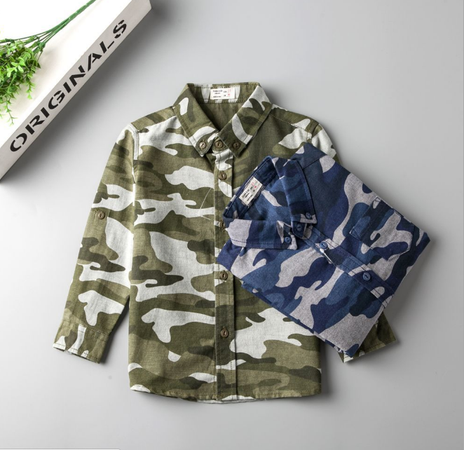 Weekday clothing wholesale 100% cotton printed casual camouflage shirts boys