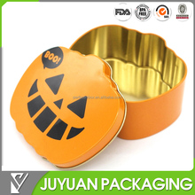 Fancy OEM pumpkin shaped empty gift or cake storage tin for Easter Day's promotion