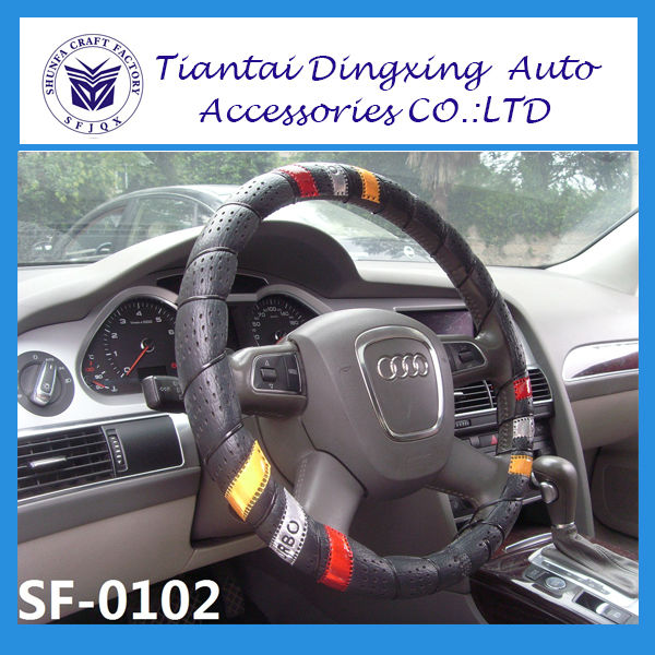 popular colorful 627 hand binding car steering wheel covers form wholesale China