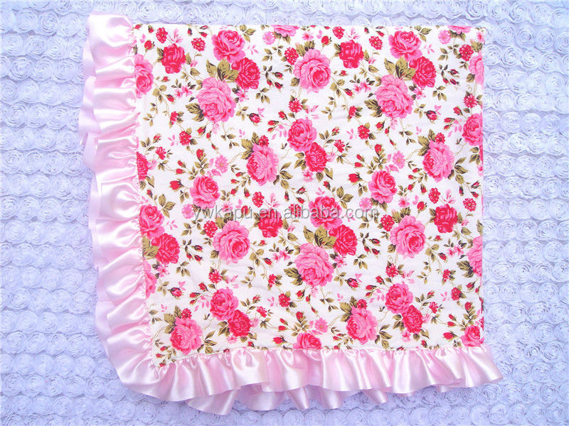 wholesale Cotton & Velvet with stain ruffle baby blanket for baby