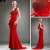 Red hot stamping chiffon with golden thread V-neck long evening dress