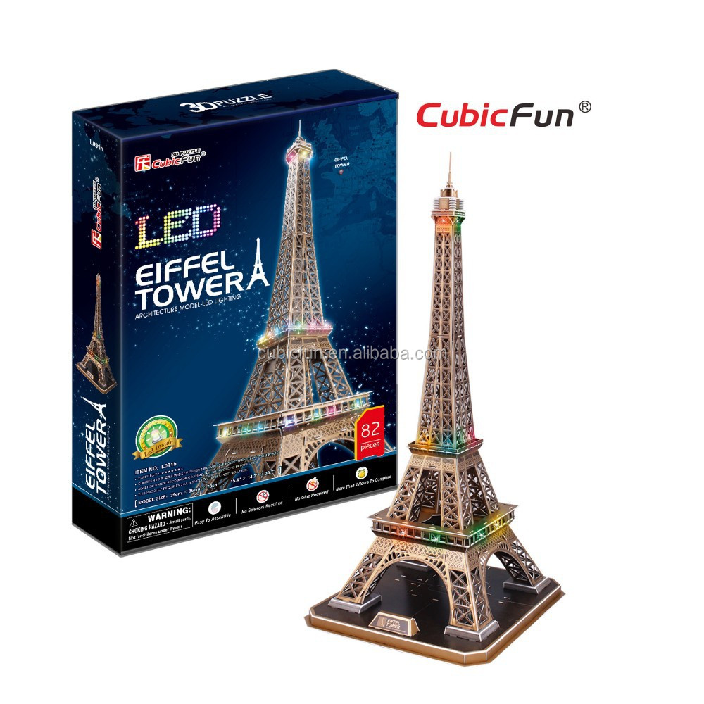 World Famous Architecture 3D Eiffel Tower Puzzle Model with LED Light