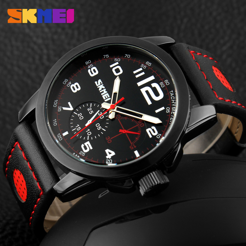 good selling watch men luxury chronograph watch with genuine leather strap