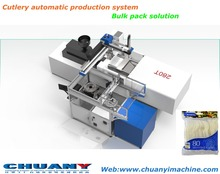 disposable cutlery packing machine with robot arm Pillow Horizontal High Speed bulk pack plastic Spoon Packing Machine