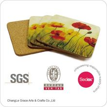 MDF coaster with fruit design cork backed coaster and wooden coaster