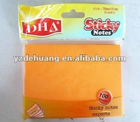 Memo Pad Selfadhesive Orange Cute Sticky Notes For School