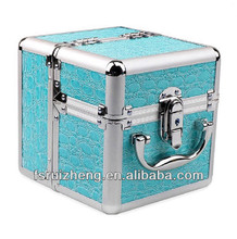 Beauty Baby Blue Crocodile Skin PVC Ladies Makeup Box/ Jewelry Case, w/ Extendable Tray & Alu Frame, RZ-AMC159