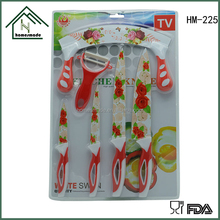 HM-225 rose printed bedding knife with 6pcs bilister package knives set