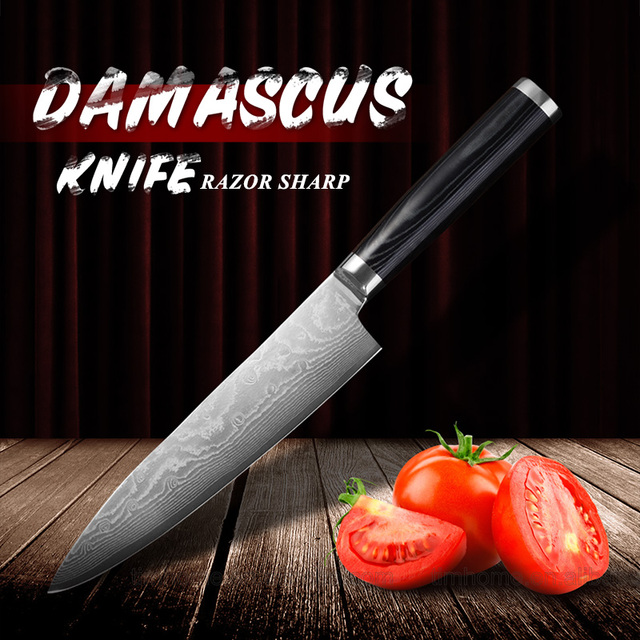 Damascus Chef Knife 8 inch Japan Knife Damascus VG10 Steel with Micarta Handle