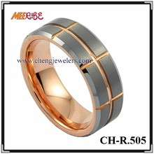 IP rose gold jewelry ring cross grooved german wedding bands